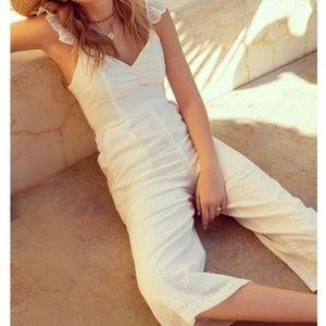Promesa cropped white eyelet jumpsuit